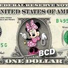MINNIE MOUSE on REAL Dollar Bill Disney Collectible Celebrity Cash Memorabilia