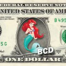 ARIEL Mermaid on a REAL Dollar Bill Disney Cash Money Memorabilia Collectible