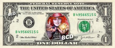 ALICE THROUGH THE LOOKING GLASS Movie on a REAL Dollar Bill Disney Cash Money