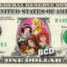 DISNEY PRINCESS on a REAL Dollar Bill Tiana Belle Ariel Snow white Aurora Cash