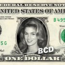 CINDY CRAWFORD on REAL Dollar Bill Cash Money Memorabilia Collectible Celebrity