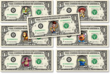 Disney's TOY STORY 7-set REAL Dollar Bill Collection - Money Cash Gift Currency