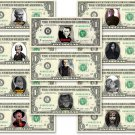 Halloween CLASSIC MOVIES 11 Bills Collection on REAL Money Cash Bank Note Dollar