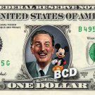 Walt Disney & Mickey on a REAL Dollar Bill Cash Money Memorabilia Collectible $