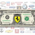 ONE(1) Auto Logo on REAL Dollar Bill - Collectible Cash Money