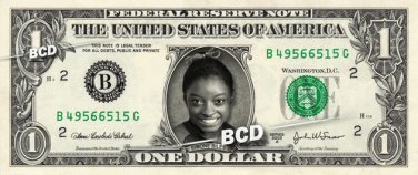 SIMONE BILES Rio Olympics Gold Medal on aREAL Dollar Bill Cash Money Collectible