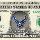 U.S. Air Force on a REAL Dollar Bill Cash Money Collectible Military Badge Logo