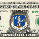 AIR NATIONAL GUARD on a REAL Dollar Bill Cash Money Collectible Military Badge