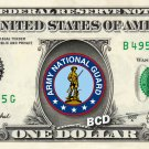 ARMY NATIONAL GUARD on a REAL Dollar Bill Cash Money Collectible Military Badge