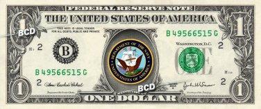 NAVY on REAL Dollar Bill Cash Money Collectible Military Badge Logo Memorabilia