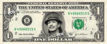 CARLOS SANTANA on REAL Dollar Bill Cash Money Collectible Celebrity Memorabilia