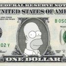 HOMER SIMPSON on a REAL Dollar Bill Cash Money Collectible Memorabilia Celebrity