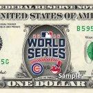 WORLD SERIES 2016 Cubs vs Indians MLB Baseball on a REAL Dollar Bill Cash Money