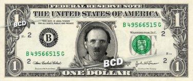 HANNIBAL LECTER on a REAL Dollar Bill Cash Money Collectible Memorabilia Celebrity Novelty Bank