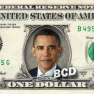 BARACK OBAMA on REAL Dollar Bill Cash Money Bank Note Currency Dinero Celebrity
