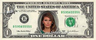 MELANIA TRUMP on REAL Dollar Bill Cash Money Collectible Memorabilia Celebrity Novelty Bank