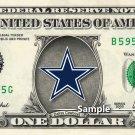 DALLAS COWBOYS Logo on a REAL Dollar Bill Cash Money Collectible Memorabilia Novelty Bank Note