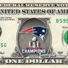 Super Bowl 51 Champions Patriots on a REAL Dollar Bill NFL Football Cash Money