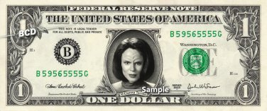 B'Elanna Torres on a REAL Dollar Bill Star Trek Voyager Cash Money Collectible