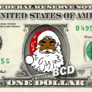 BLACK SANTA on a REAL Dollar Bill Christmas Holiday Cash Money Collectible Memorabilia