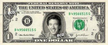 TIM ALLEN - Real Dollar Bill Cash Money Collectible Memorabilia Celebrity Novelty
