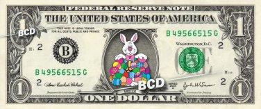 HAPPY EASTER Rabbit - Real Dollar Bill Bunny Cash Money Collectible Memorabilia