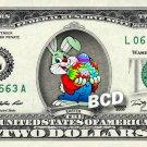 HAPPY EASTER Bunny - Real Two Dollar Bill Rabbit Cash Money Collectible Memorabilia