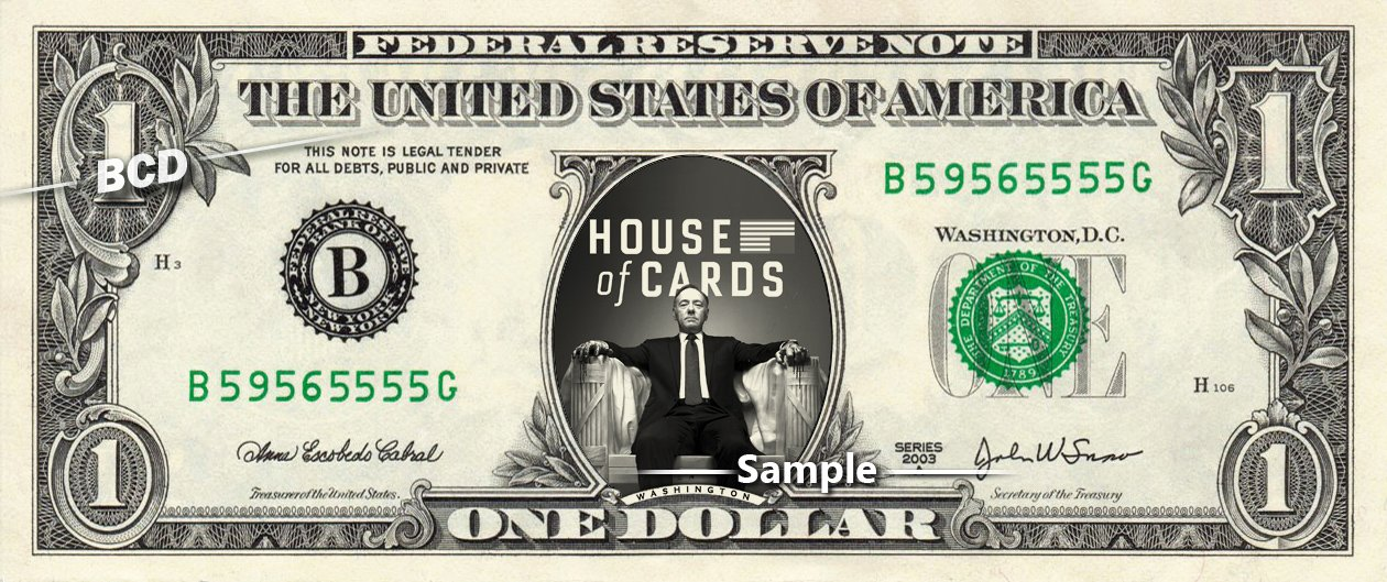 HOUSE OF CARDS Kevin Spacey - Real Dollar Bill Cash Money Collectible Memorabilia Celebrity Novelty