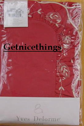 Yves Delorme Caraco Red King Pillow Shams Brand New