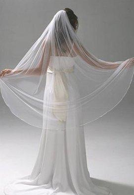 NEW Bridal Wedding VEIL - White or Ivory, 1 Layer, Semi-Waltz Length, Pencil Edge