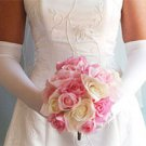 White Above Elbow Bridal Wedding Gloves