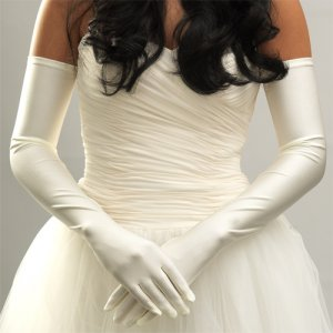 White Opera Length Bridal Wedding Gloves