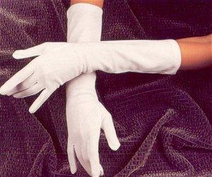 White Below the Elbow Bridal Wedding Gloves
