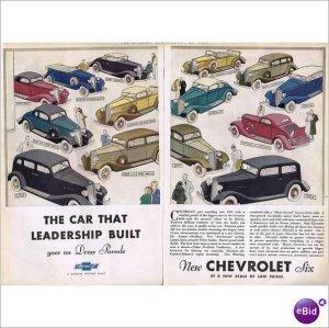 14 models 1933 Chevrolet double page color ad E101