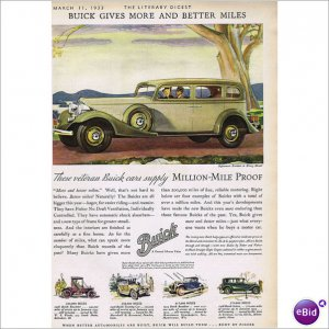 Buick 4 door sedan 1933 full page color ad E106