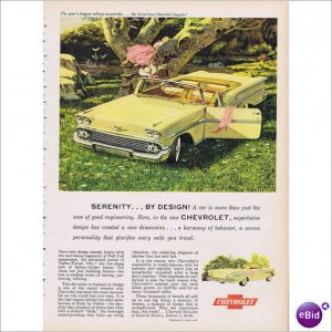 Chevrolet convertible 1958 full page color ad E128