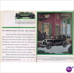 Ford roadster and town sedan 1930 double page color ad E-146
