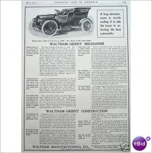 Waltham Orient mechanism automobile 1905 full page ad E172