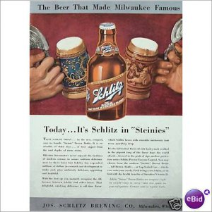 Schlitz Beer Steinies large format 1948 1 page color ad  E191