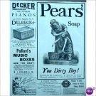 Pears Soap cute YOU DIRTY BOY 1888 ad  E197