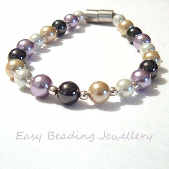 MAGNETIC HEMATITE PEARLY BRACELET