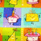 Happy Birthday, Cake, Gift, squares, blocks Fabric FQ