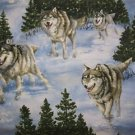 Running winter wolves, wolf pack Fabric FQ