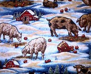 CHRISTMAS FARM ANIMALS Fabric FQ