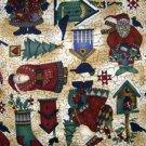 Debbie Mumm Old World Santa Birdhouses Fabric FQ