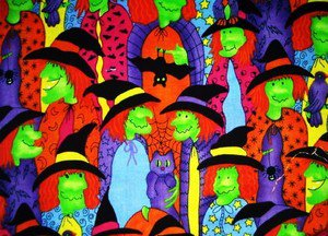 Halloween Green Face Witch  Fabric FQ
