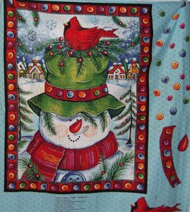 Snowman with birdnest  fabric panel