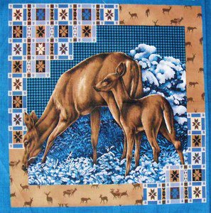 Moonlight Serenade Deer Wildlife Pillow Panels Fabric