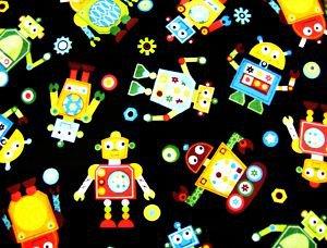 Robots on black Kids Fabric FQ