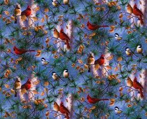 Christmas winter birds, cardinal Fabric FQ